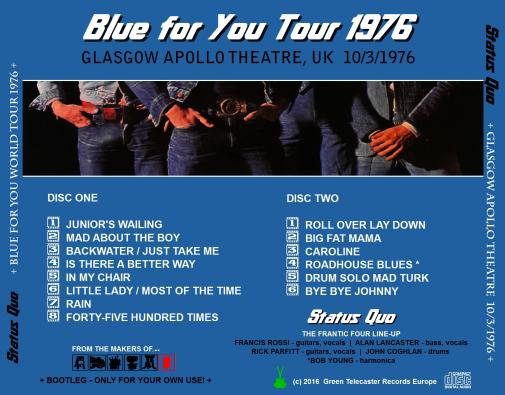 Status Quo Online Gigography Blue For You Tour